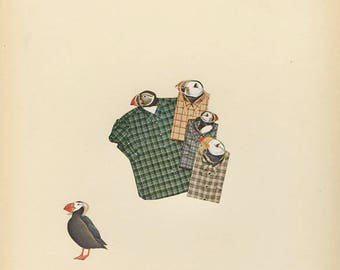 Proud, plaid wearing puffins of the Pacific Northwest. Original collage by Vivienne Strauss.