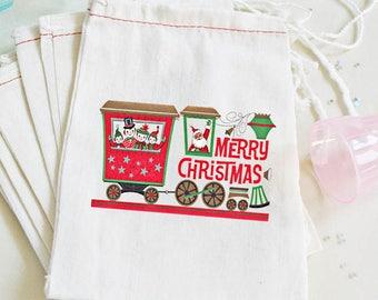 """Christmas Favor Bag - Christmas Train Bags - Train Favor Kids Party - Retro Christmas Party Bags - 4X6 or 6X8 10 count """"Mod Christmas Train"""""""
