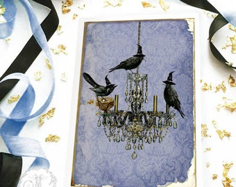 Halloween card, Murder of crows, vintage chandelier silhouette, holiday card, blank card