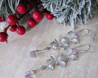 Luminous Bloom in Pale Orchid - Matte Silver Floral earrings with Pale Purple Amethyst