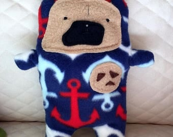 "Captain Archie - The ""Chips Ahoy!"" Pug-Jama Party Bummlie ~ Stuffing Free Dog Toy - Ready To Ship Today"
