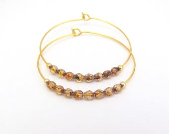 Topaz Brown Beaded Hoop Earrings Tortoise Shell Czech Glass Gold Plated Hoops Boho Bohemian Minimal