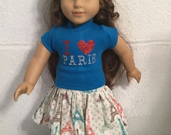 Doll clothes that fits the American girl Paris skirt set