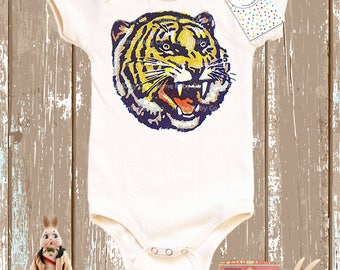 Baby Gift, Tiger Shirt, Gift for Boy, Retro Baby Shirt, Hipster Baby, Organic Bodysuit, Circus Tiger, Tiger Top, Baby One Piece, Shower Gift