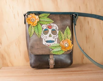 Leather Crossbody Bag - Sacred Skull Pattern with Sugar Skull and cut-out Flowers - Yellow, Green, Blue and Antique Black - Gift for Her