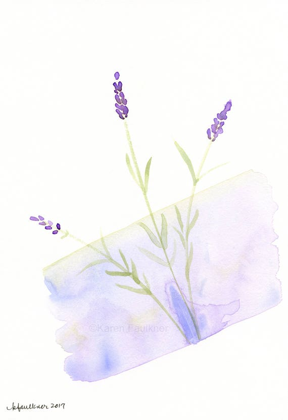 "Original watercolor flower painting: ""Lavender Love"""