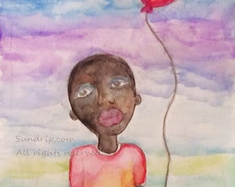 Little Boy with Red Balloon Rainbow Sky Black Folk Art African Americana Watercolor Original