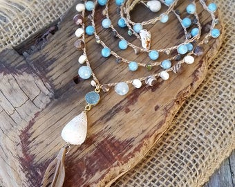 Long Boho Necklace, Layering Necklace, Long Crocheted Necklace, Hippie Boho Necklace, Feather Boho Jewelry,  Cone Shell Necklace, Bohemian