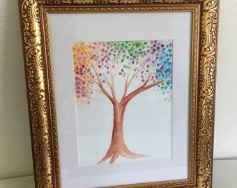 Tree of Rainbow Leaves 8 x 10 Original Art Print