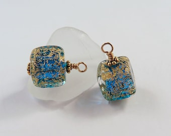 Elegant Little Murano Glass Aqua and Cracked Gold Earrings, Hanukkah Jewelry, Christmas Stocking Stuffer, Unique Party Jewelry