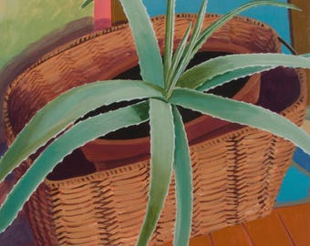 Succulent Botanical Still Life Aloe Plant in a Basket Original Oil on Canvas