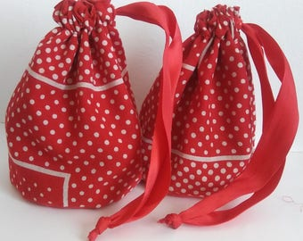 Red and White Bandanna Dice Bag Pair