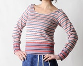 Red striped sweater, Womens sweater, White blue red sweatshirt, Fall fashion, vintage knit sweater, MALAM, size UK10