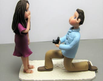 Custom made to Order Engagement figurine Cake Topper