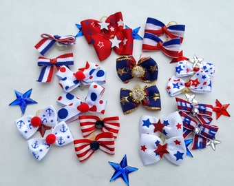 Puppy Bows Small Independence Day, 4th of July, Military, Red White Blue, USA, Memorial Day 10pairs - 20 bows