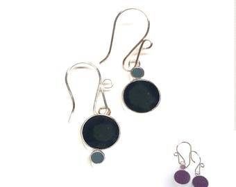 Reversible Mismatched Resin Silver Earrings Colorful Circles Round Matte Navy Purple