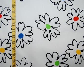 VINTAGE fabric Artsy mod daisy fabric 1992 Sykel cotton woven mod fabric