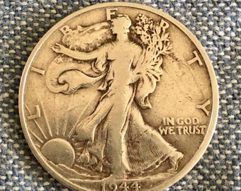 1944 S Half Dollar V.G. Toned Patina SILVER STANDING LIBERTY Coins  Harder to find - Free Usa Shipping