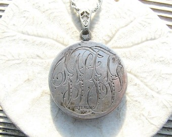 Antique Sterling Silver Love Token Monogram Pendant Necklace with Abalone, on Long Heavy Sterling Chain