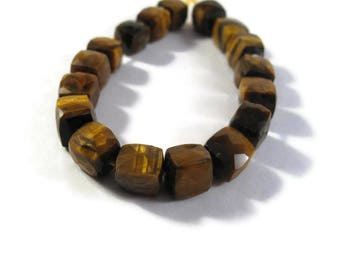 17 Tigers Eye Beads, 5 Inch Strand of Beautiful Golden Gemstones Cubes, Natural Gemstones for Making Jewelry, 8x8mm - 7x7mm (S-Te3)