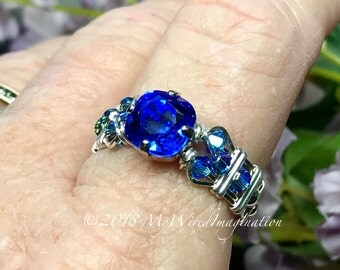 Sapphire Blue, Vintage Swarovski Crystal Handmade Ring, Wire Wrapped Sterling Silver or 14K GF, Unique Engagement, September Birthstone