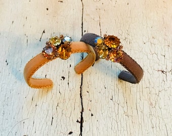 Caramel or Chocolate Adjustable Cuffs with a little Bling