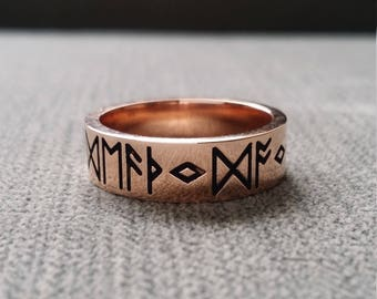 "Rustic Mens Wedding Band Ring Nordic Runes Till Death Do We Part Old World Norse Mythology Viking 14K Rose Gold Hammered ""The Odin"""