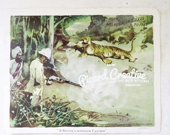 McLaughlin's Coffee Trade Card XXXX Coffee A Native's Narrow Escape Tiger- Victorian Trading Card