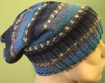 Knitted Slouch Hat, blue sock-striped