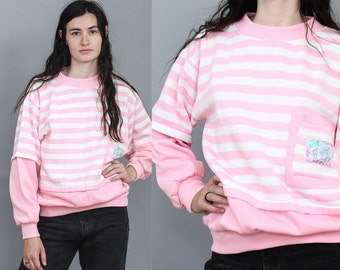 80's Pink Striped Ski Sweater in Medium or Large . Baggy Oversized Retro Fitted Pullover Jumper . 1980s 90s 1990s White Nepal Tibet Pocket