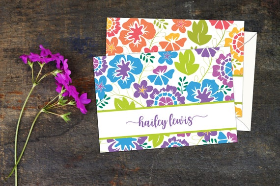 Bold Floral Garden Note Cards, Set of Ten Note Cards with Envelopes, Bright Floral Personalized Note Cards, Thank You Cards with Envelopes