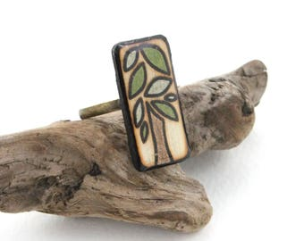 Adjustable Wood Rectangle Tree Ring, Women and Girls Ring, Simple Casual Wooden Ring with Epoxy Resin, Wood Burned Canadian Artisan Jewelry