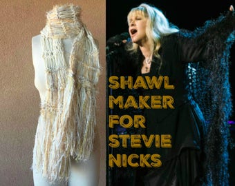 Boho Gypsy Scarf Knit Accessories Stevie Nicks Style Golden Yellow Tan Beige Ivory Cream Scarf Clothing Gift for Nature Lover Fringe Scarf