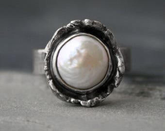 Water Cast Steling Silver Ring Freshwater Pearl, Water Casting Abstract Natural Form Organic Silver Statement Ring