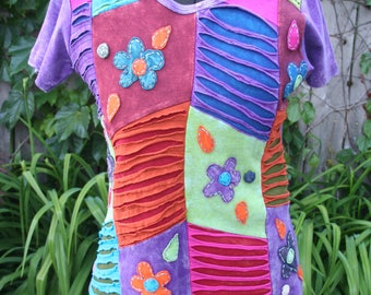 SALE was 24.00 Nepal Napalese flowered hippie shirt T-shirt small medium