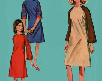 1960s MOD JIFFY Colorblock Dress with Raglan Sleeves Sewing Pattern Simplicity 6730 60s Mad Men Era Pattern Size 12 Bust 34