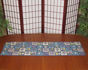 Floral Plum Blossoms, Chrysanthemums and Peonies Patchwork Look Design Japanese Quilted Fabric Table Runner Blue