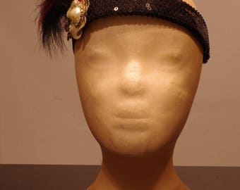 Festival Flapper, black sequin head band, gold flower, fluffy feathers