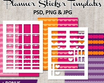Valentine DIY Kit Erin Condren Planner Sticker Collage Printable, Blank Template plan stickers Life Planner, download, commercial use