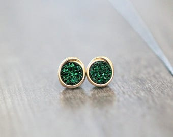 Druzy Studs , Tiny Post Emerald Green Earrings in Gold , Sterling Silver , Rose Gold , Petite Everyday Fashion - Micros ( Emerald City )