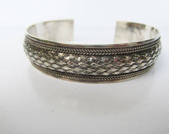 """Sterling Silver Detailed Braided Cuff Bracelet - Size 7-8""""   1624B"""
