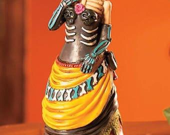 Vintage Day of the Dead Skeleton Girl Statue