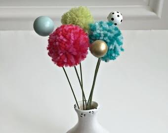 modern, urban pom pom Valentine flowers, painted wooden bead flower bouquet,  faux fake contemporary fabric flower stem Valentine bouquet