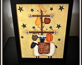 Primitive Fall Sheep 8 x 10 Framed Canvas Painting-Pumpkin-Moon-Stars-Home Decor Decoration
