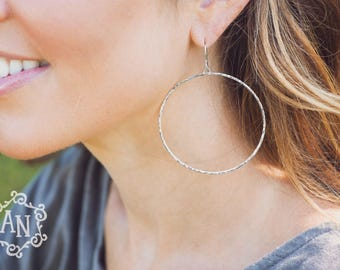 Hula Hoop Earrings. Hammered Sterling Silver Earrings. Shimmer. Gold. Brass. Urban. Boho. Minimalist. Modern. Everyday. Gifts for Her.