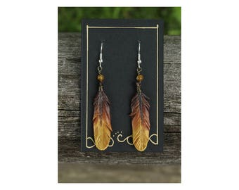 Bronze Gold Feathers - 2 Inch Leather Feather Earrings - Hand Painted Leather Bird Feather Earrings