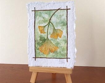 Ginkgo in Autumn Tiny Original Watercolor OOAK Free Shipping