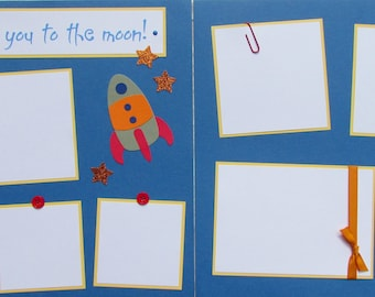 Premade 12x12 Scrapbook Pages -- I LoVe YoU To The MooN -- BOY layout, my son, baby boy scrapbooking, rocket, first 1st year album, space