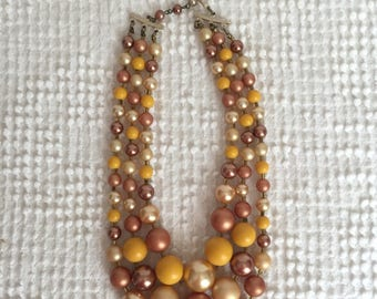 Vintage 3 Strand Butterscotch, Caramel and Soft Brown Pearl Beaded Necklace - Adjustible length - Warm gorgeous colors