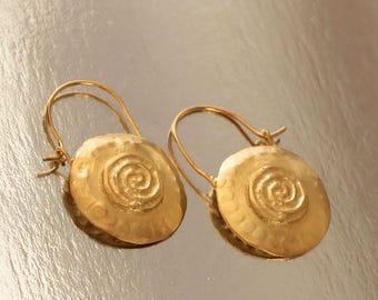 Round Gold Earrings, Boho Chic Earrings, Goldplated Silver Earrings, Tribal Ear Hoops, Spiral Earrings, Round Ethnic Hoops